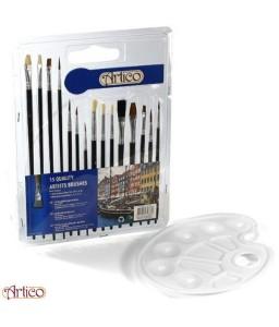 Set 15 pennelli da pittura con tavolozza a 6 scomparti Artico
