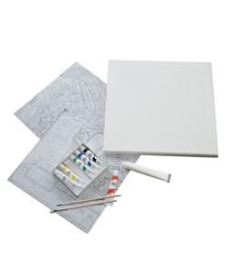 Kit 12 strumenti per dipingere con tela 30x30cm Artico